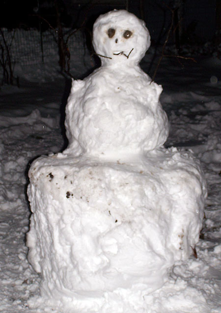 Our late night snowman!