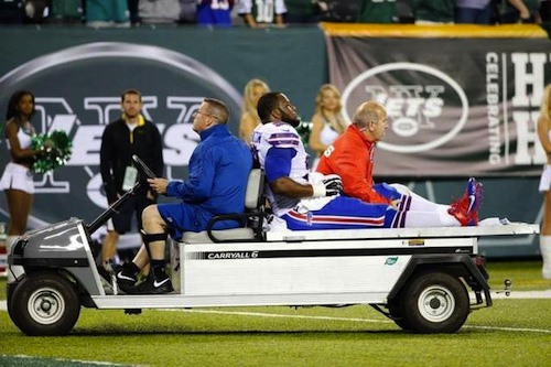 Bills DE Alex Carrington injured against the NY Jets