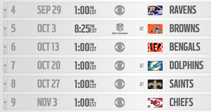 Buffalo Bills Schedule - Weeks 4-9
